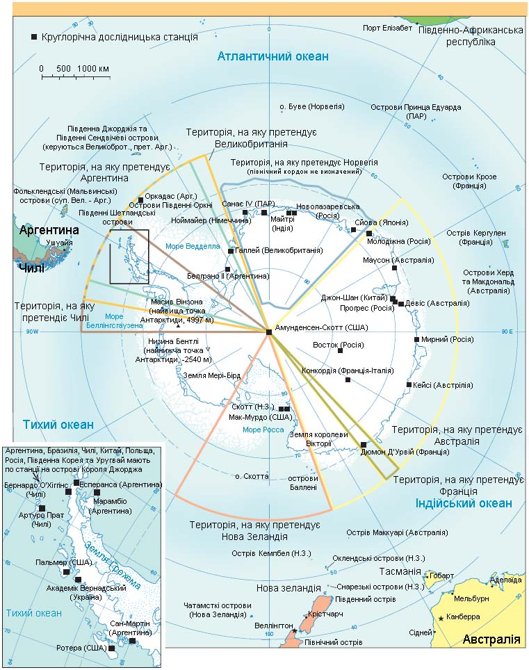 Антарктика - карта