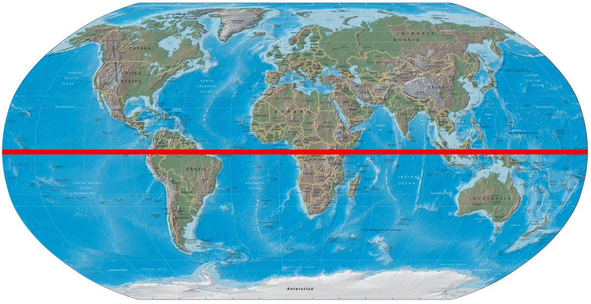 Екватор на мапі світу