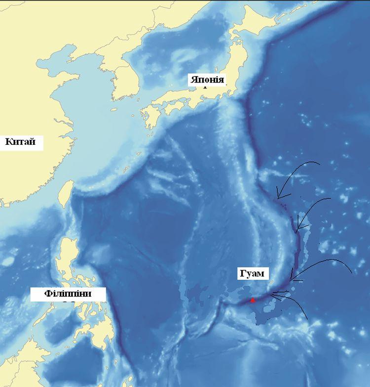 Карта Маріанської западини