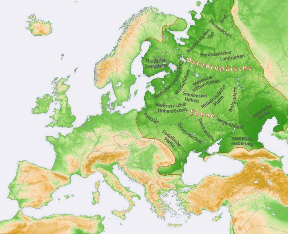 Карта Східноєвропейської рівнини
