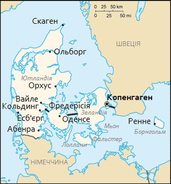 Мапа Данії