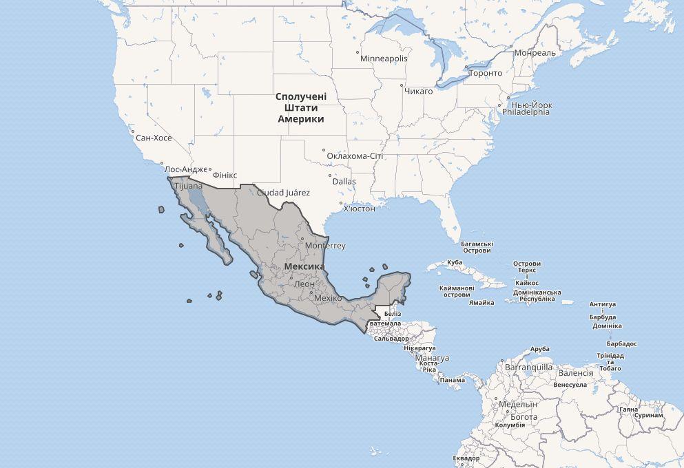 Мексика на карті світу2