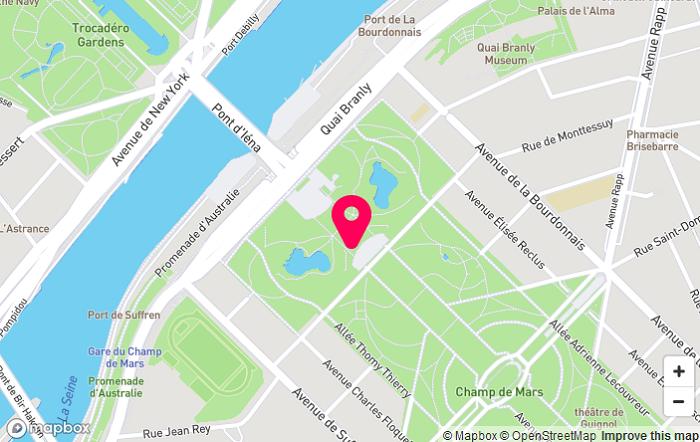 Місце розташування Ейфелевої вежі на карті