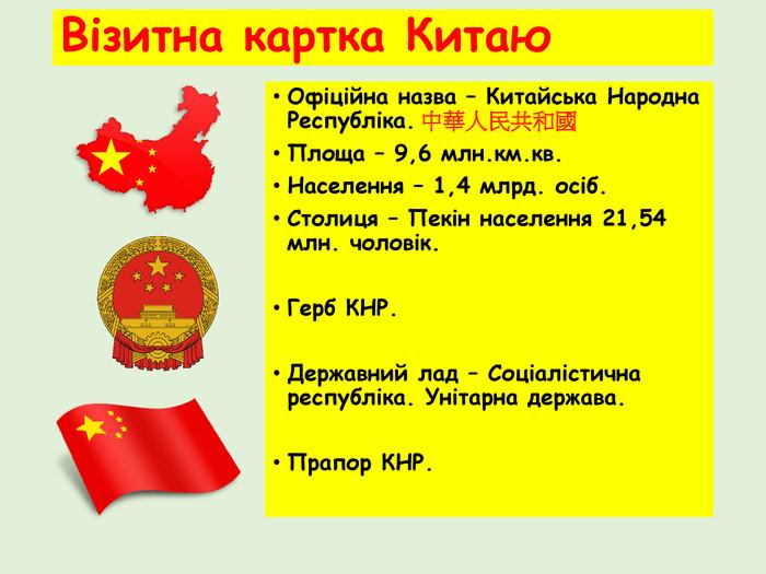 Візитівка Китаю