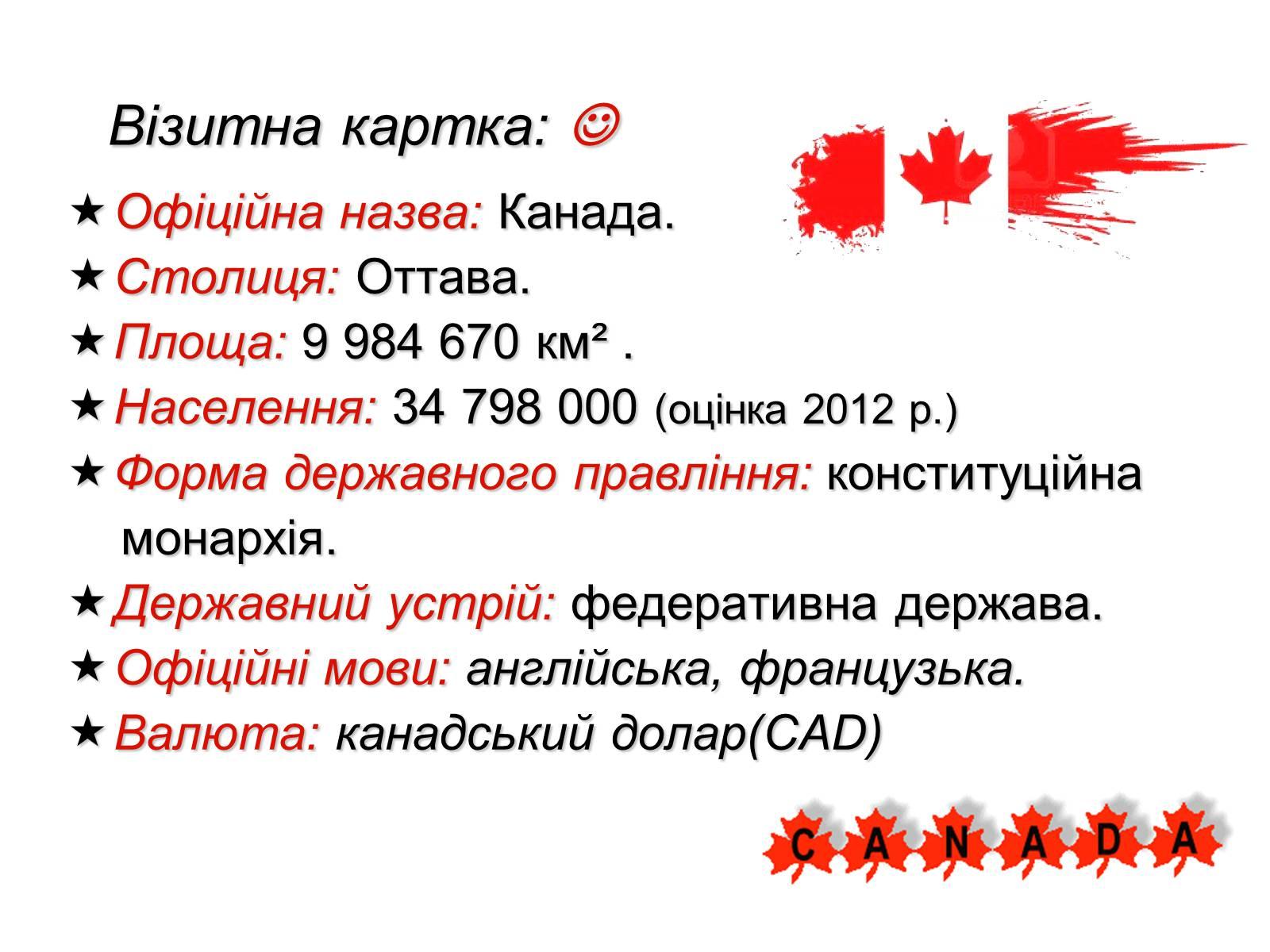 Візитівка Канади