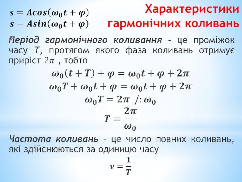 Характеристика гармонічних коливань1
