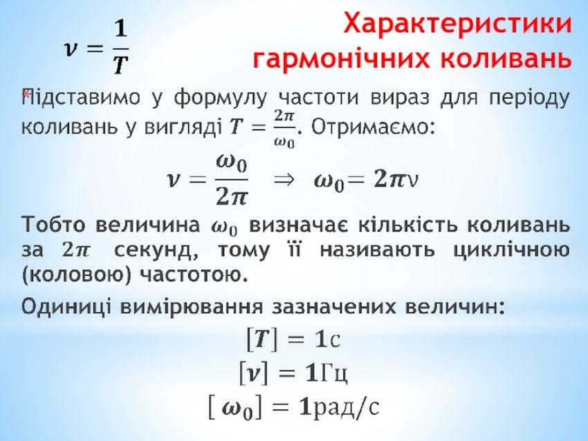 Характеристика гармонічних коливань2