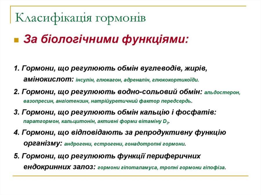 Класифікація гормонів за біологічними функціями