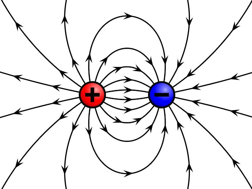Лінії напруженості електричного поля навколо точкових зарядів
