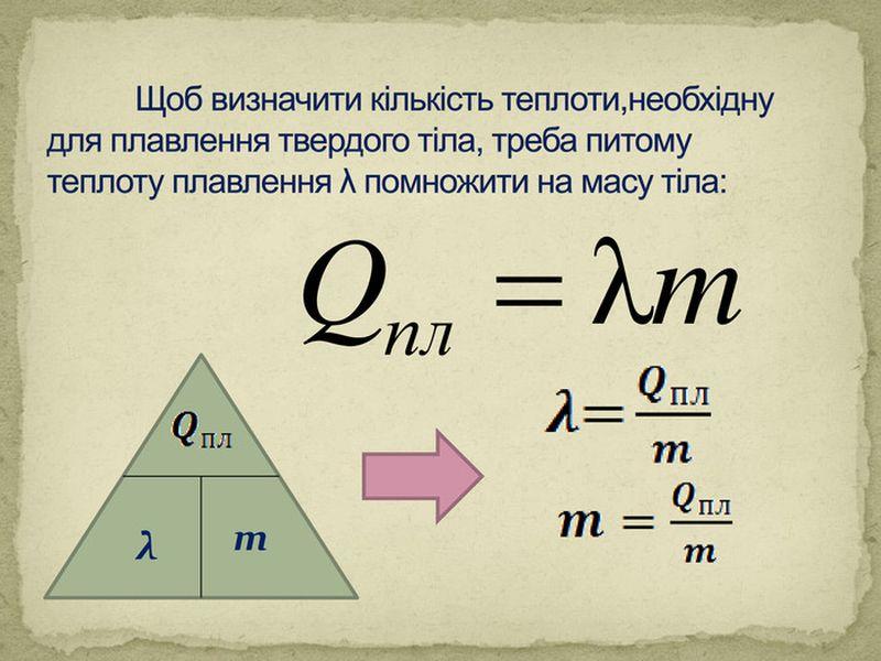 Питома теплота плавлення - формула