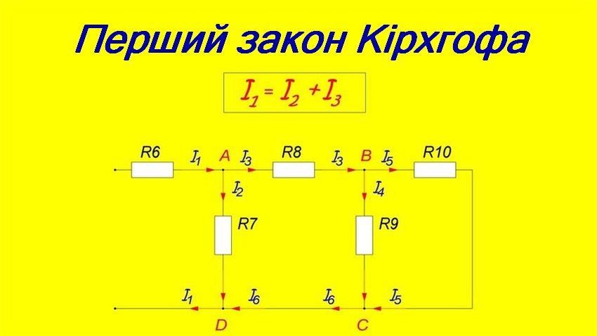 Схема першого закону Кірїгофа