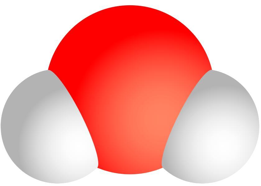 Схематичне зображення молекули води