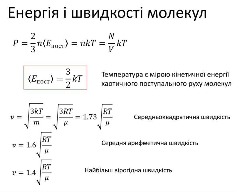 Енергія і швидкості молекул