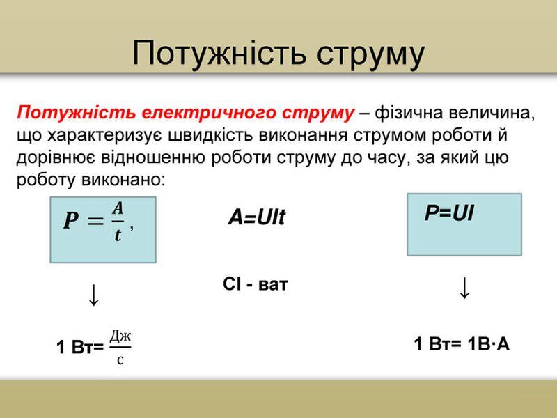 Потужність електричного струму - визначення і формула