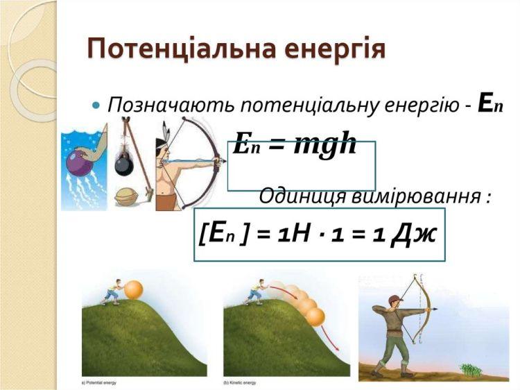 Потенціальна енергія - формула і одиниці вимірювання
