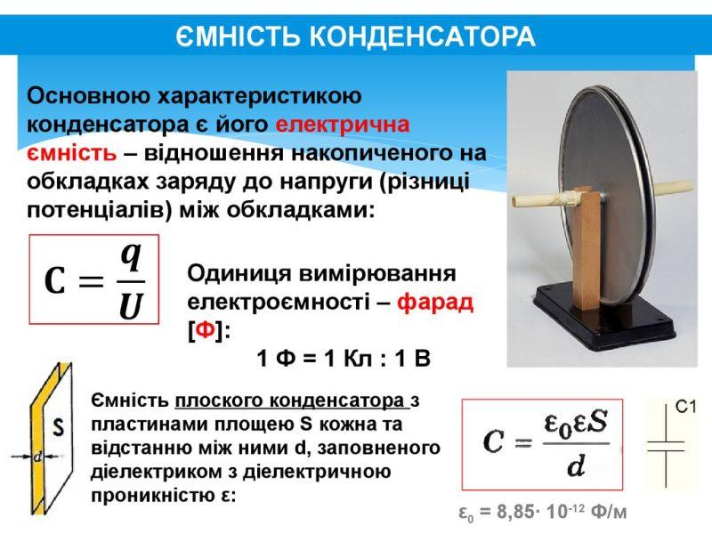 Ємнісний конденсатор - схема і формула