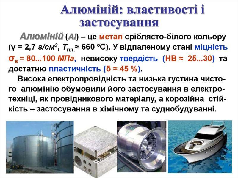 Алюміній - властивості та застосування