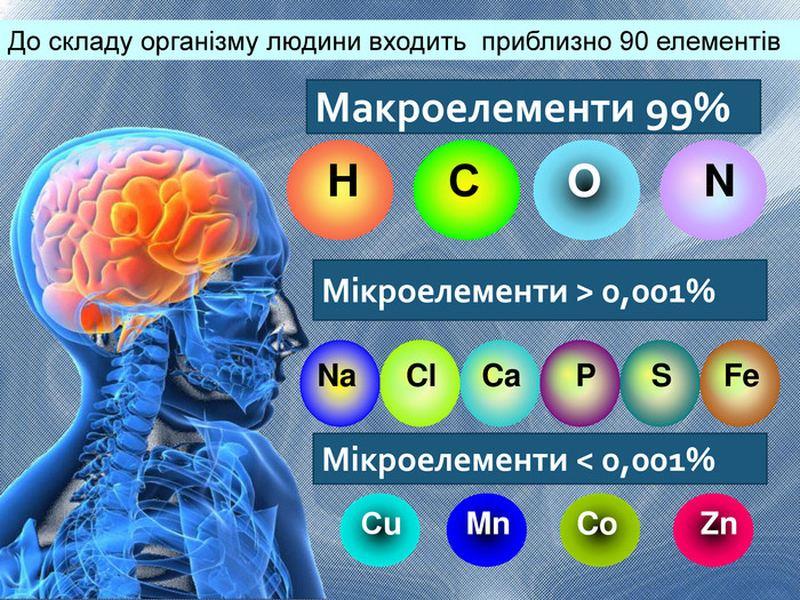 Хімічні елементи тіла людини