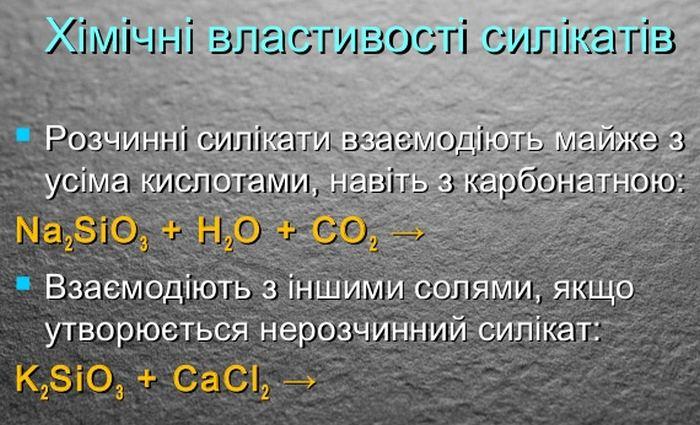 Хімічні властивості силікатів