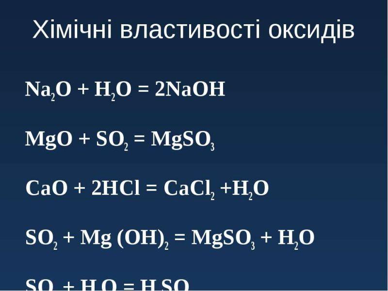 Хімічні властивості оксидів