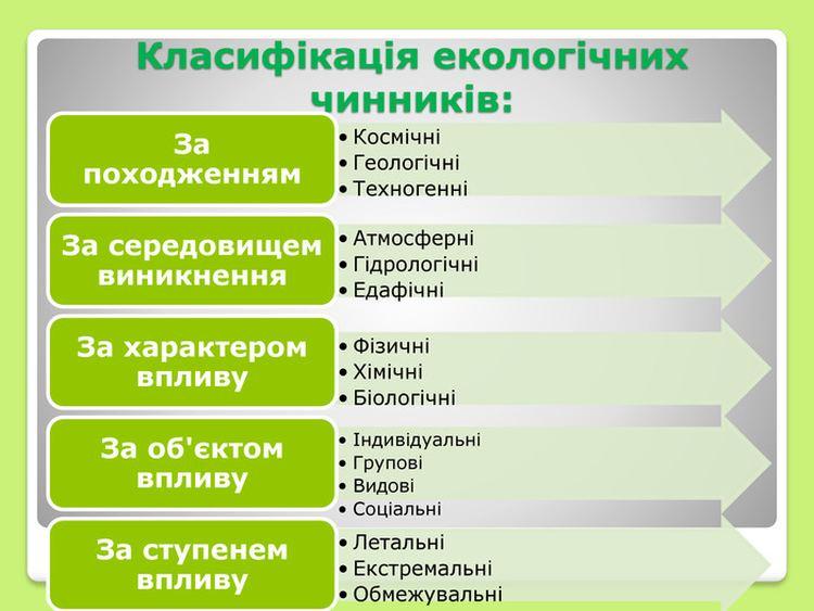 Класифікація екологічних чинників