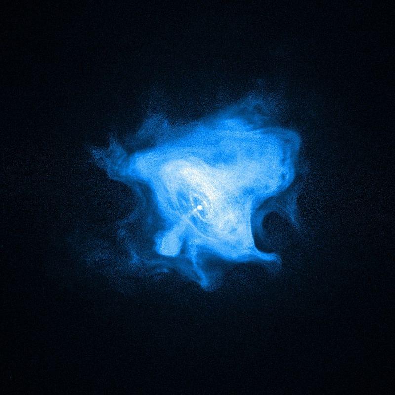 Крабовидна туманність (зображення в рентгенівських променях), добре видна внутрішня ударна хвиля, вільно розповсюджується вітер, а також полярна струменева течія (джет).