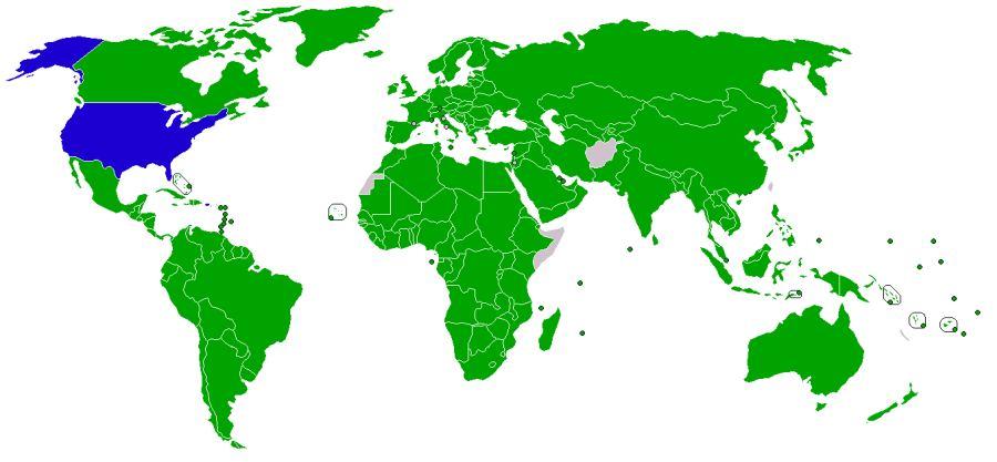 Мапа країн, які підписали кіотський протокол