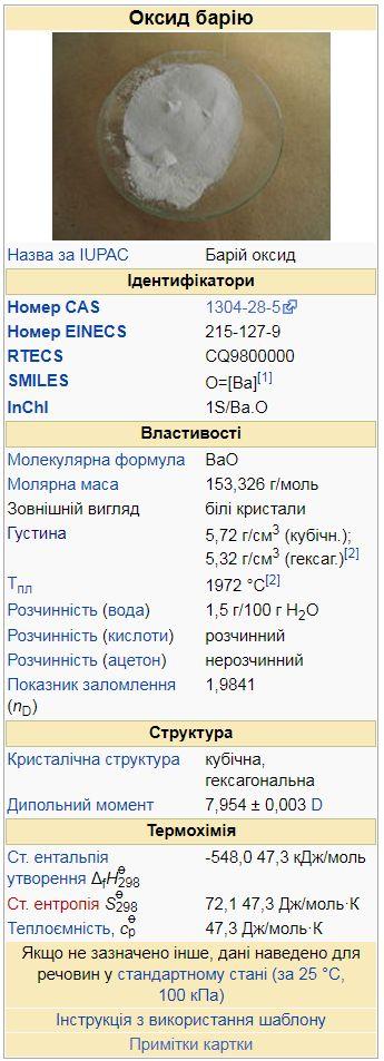 Оксид барію - таблична характеристика