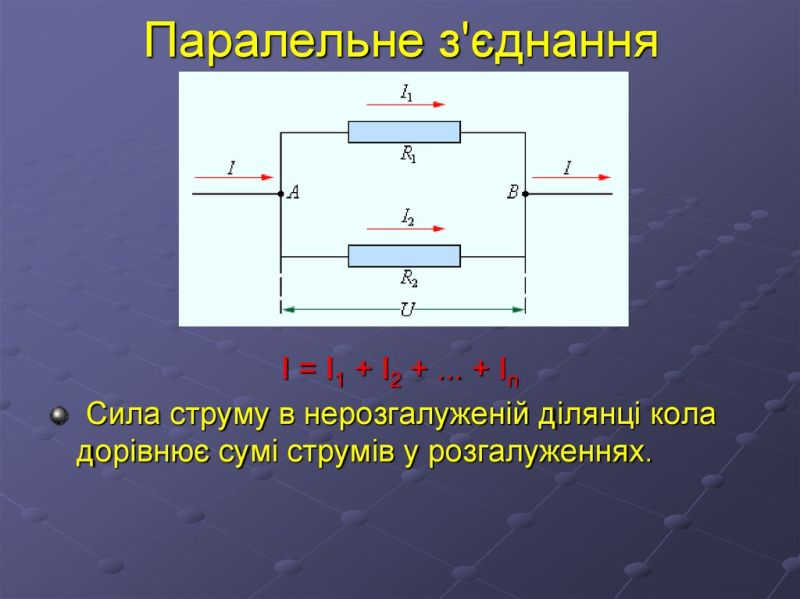 Паралельне з'єднання - властивості