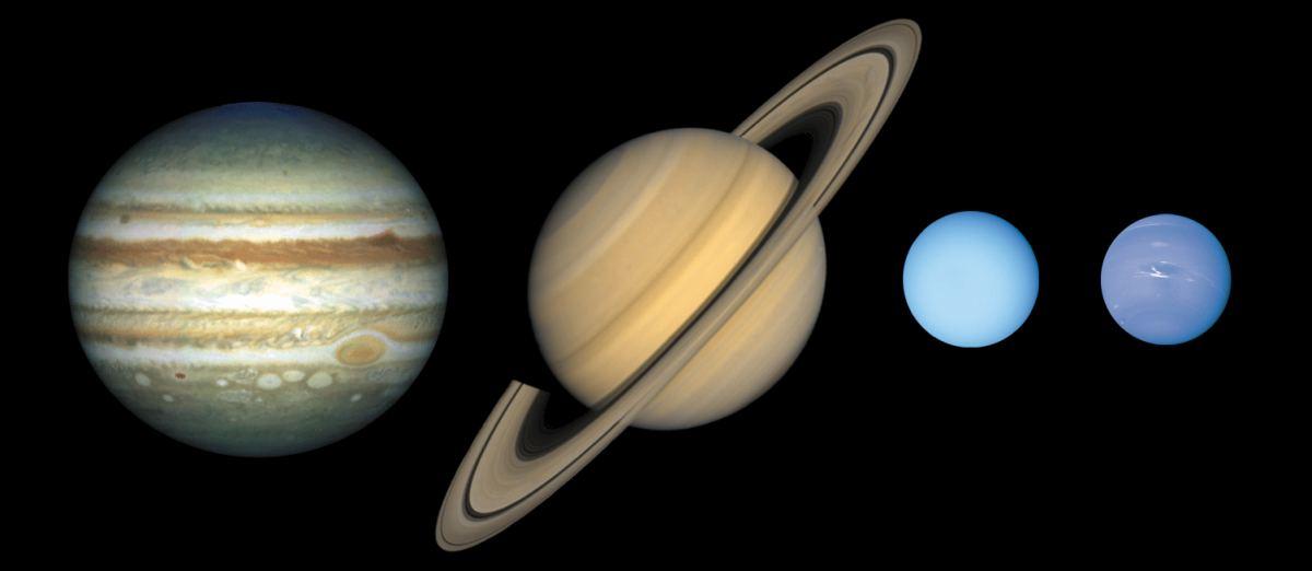 Планети-гіганти. Зліва направо - Юпітер, Сатурн, Уран і Нептун (розміри в масштабі, міжпланетні відстані — немає)