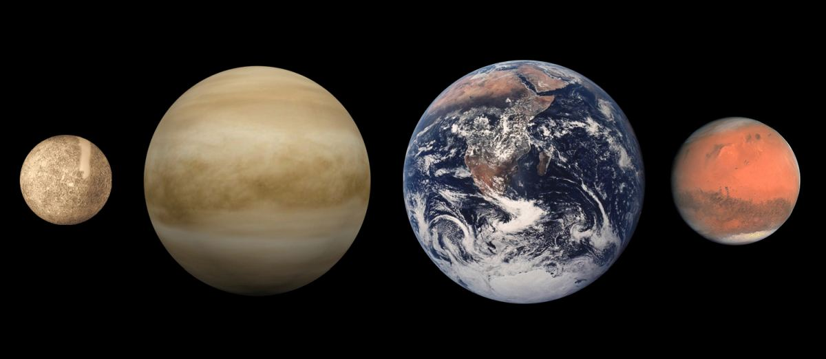 Планети земної групи. Зліва направо - Меркурій, Венера, Земля і Марс (розміри в масштабі, міжпланетні відстані - немає)