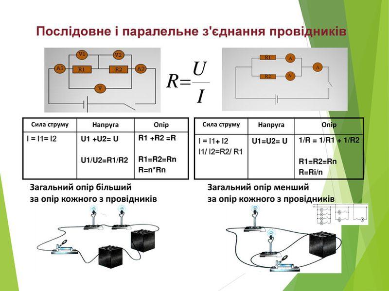 Послідовне і паралельне з'єднання провідників - приклад і визначення