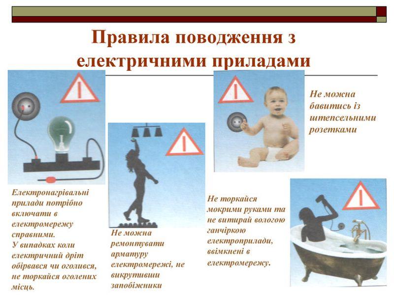 Правила поводження з електричними пристроями