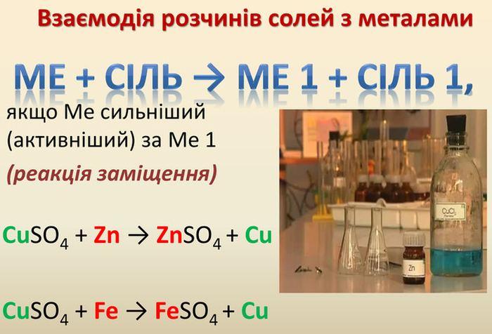 Взаємодія розчинів солей з металами