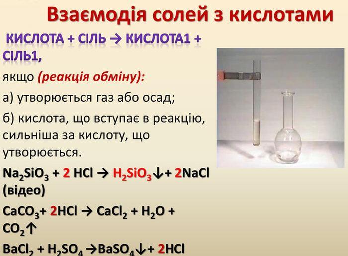 Взаємодія солей з кислотами