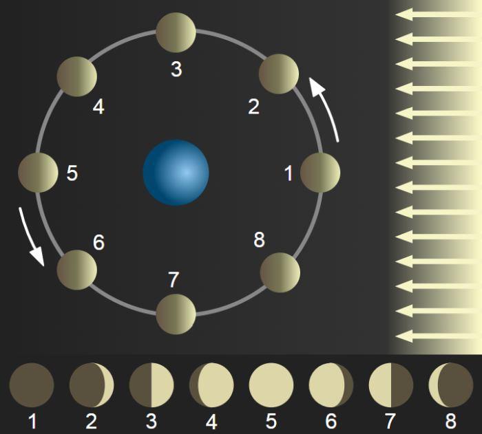 Зміна фаз Місяця при його русі орбітою